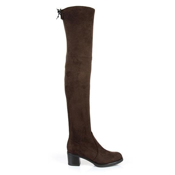 am besten wählen modischer Stil Designermode Buffalo Overknee-Stiefel in dunkelbraun mit Blockabsatz ...