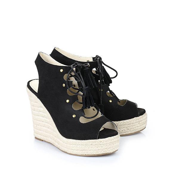 bf6d12916a3 Buffalo wedge heel sling-back sandals in black buy online in BUFFALO Online- Shop