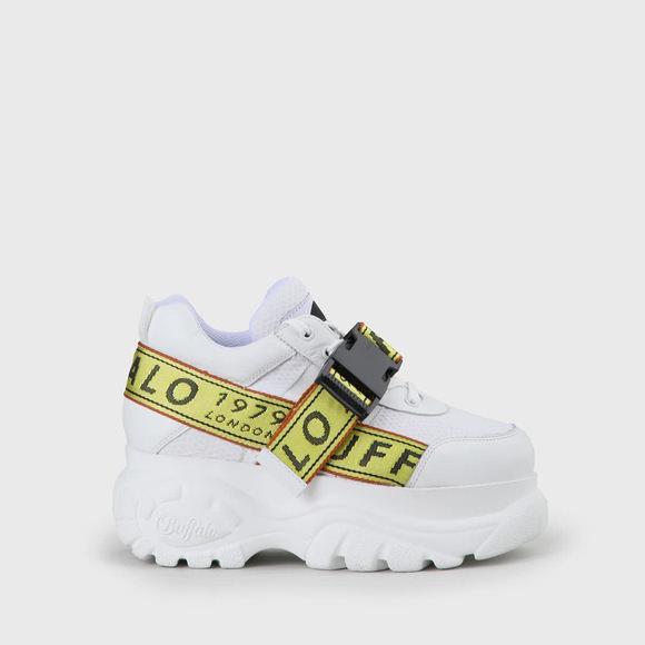 Galip Platform White Leather Sneaker by Buffalo