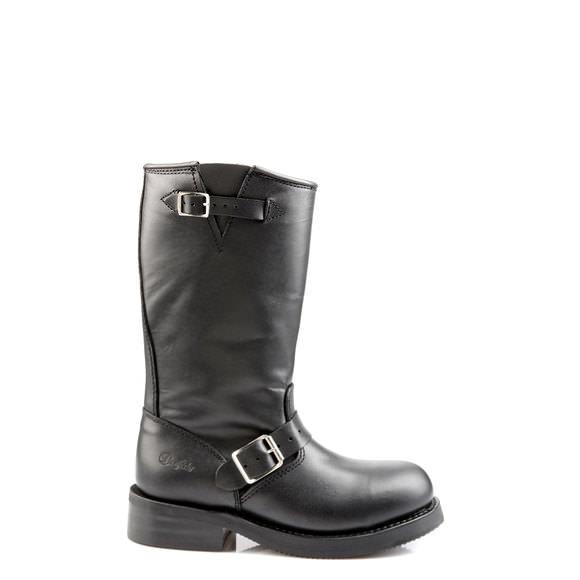 Boots motardes en cuir Noir