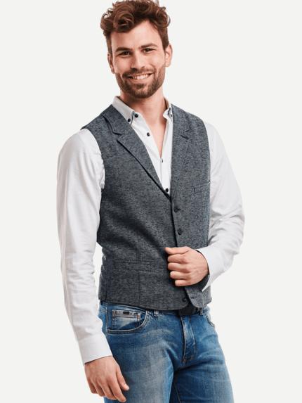 Grau engbers Herren Sakkoweste mit Grobstrickr/ücken 28064