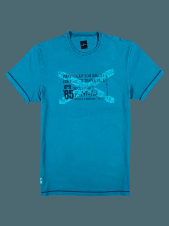 7ded3f2c5ff96a Herren Modisch bedrucktes T-Shirt in Cyanblau Große Größen