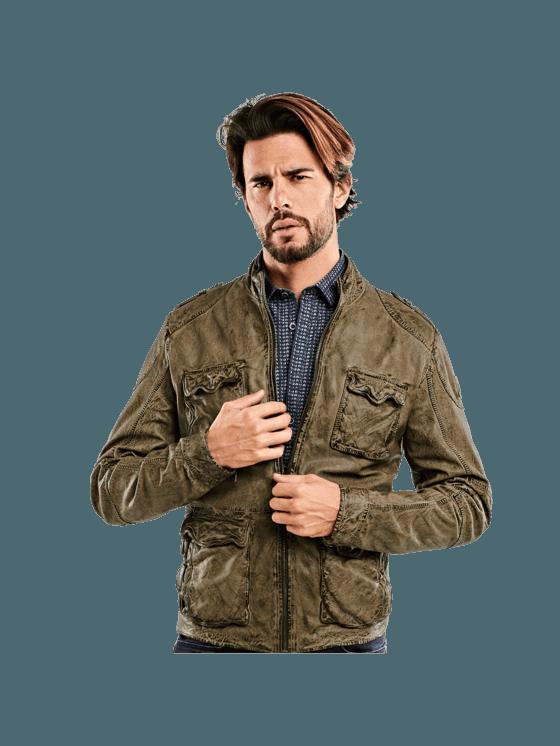 emilio adani Field Jacket Lederjacke Lederjacken – Nussbraun