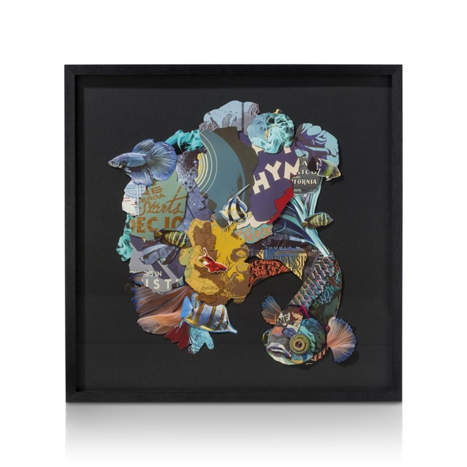 FRAMED ART 3D FISH BLUE65X65CM
