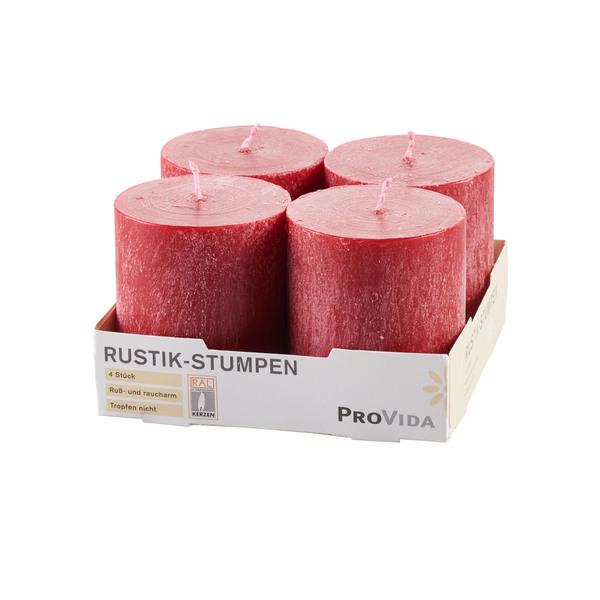 Provida Rustik-Stumpenkerzen in Kaminrot