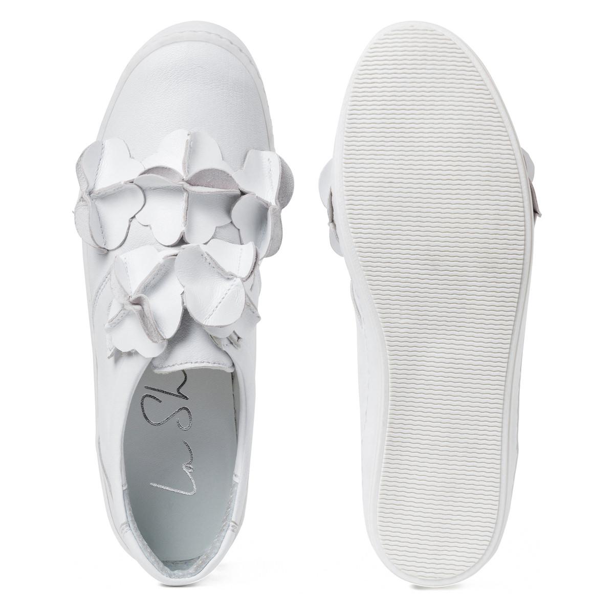 Slipper mit Blütenmeer Weiss Rvfj54QA5