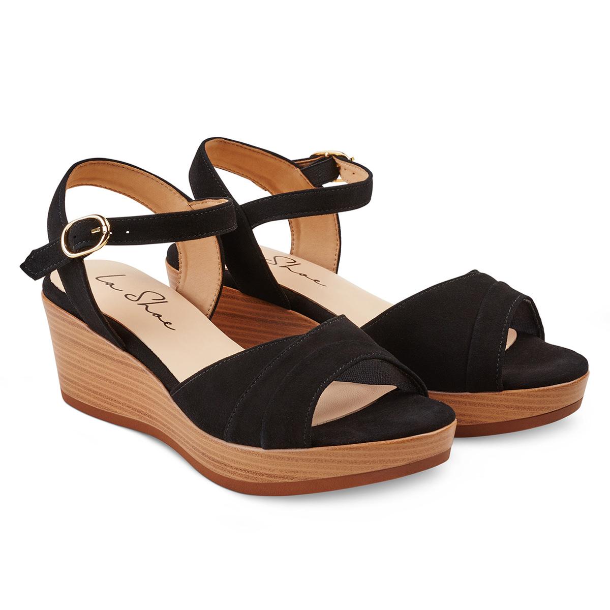 sandale auf keilabsatz schwarz f r hallux valgus kaufen lashoe. Black Bedroom Furniture Sets. Home Design Ideas