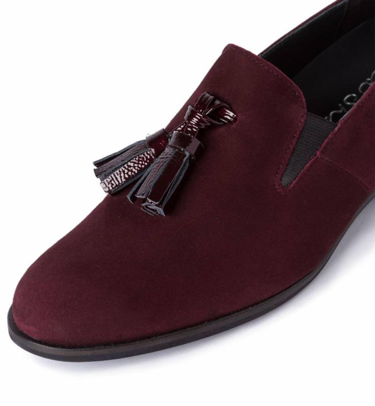 slipper mit quasten bordeaux f r hallux valgus kaufen lashoe. Black Bedroom Furniture Sets. Home Design Ideas