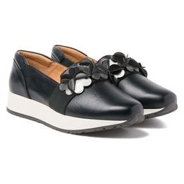 Alle Details auf einen Blick. Slipper mit Blütendekor Schwarz – modischer  und bequemer Schuh für Hallux valgus und empfindliche Füße von e427d66261