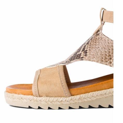 Sandale mit Kroko-Leder Beige LaShoe eZoZUR