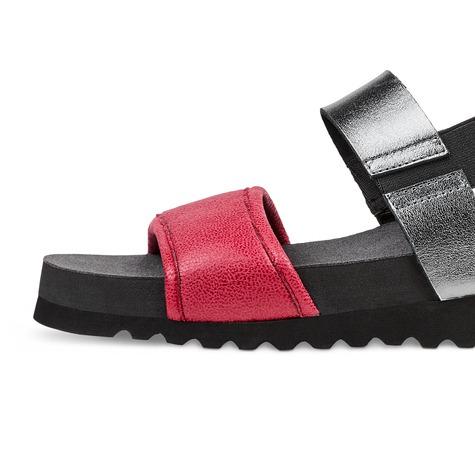 Sandale mit Softfußbett Anthrazit/Rot