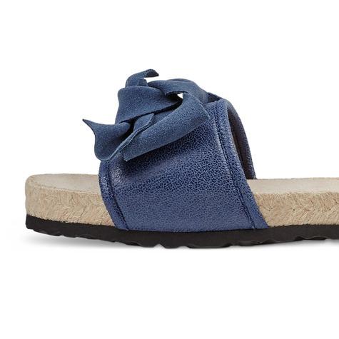 Pantolette Ibiza-Feeling mit Schleife Blau LaShoe