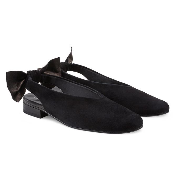 backsling slipper mit schleife schwarz f r hallux valgus in schwarz kaufen lashoe. Black Bedroom Furniture Sets. Home Design Ideas