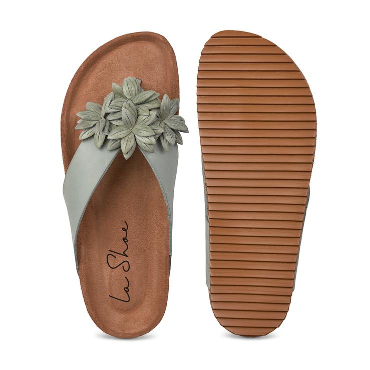 Flip Flop mit Blüten Mint