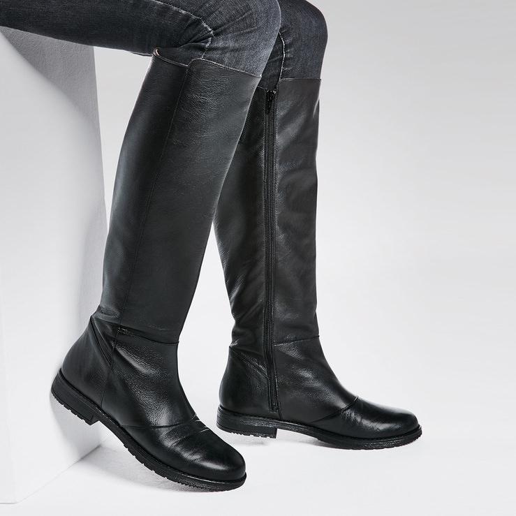 Langschaftstiefel weiter Schaft Schwarz – modischer und bequemer Schuh für Hallux  valgus und empfindliche Füße von cec8c9cf58