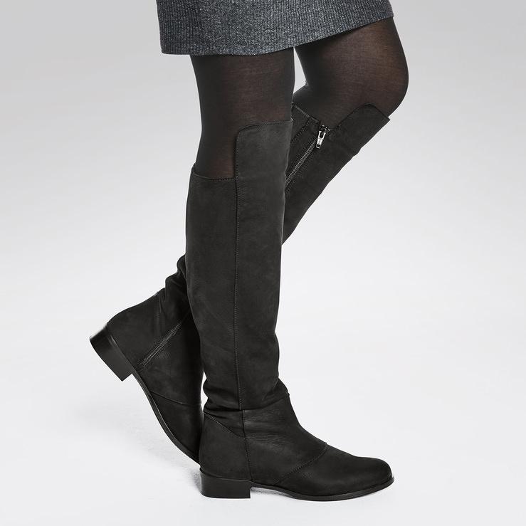 Overknee Stiefel Schwarz – modischer und bequemer Schuh für Hallux valgus  und empfindliche Füße von LaShoe bc3d120245