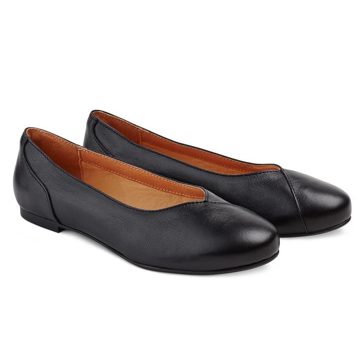Flache Ballerina Schwarz – modischer und bequemer Schuh für Hallux valgus  und empfindliche Füße von LaShoe bce3dc6c68