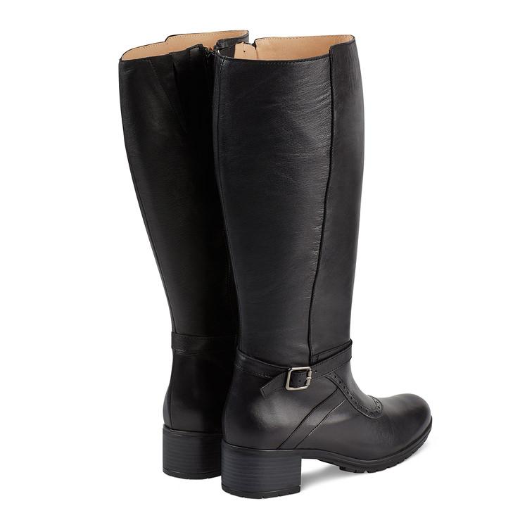 Stiefel auf Blockabsatz weiter Schaft Schwarz – modischer und bequemer Schuh  für Hallux valgus und empfindliche 09eab351ee