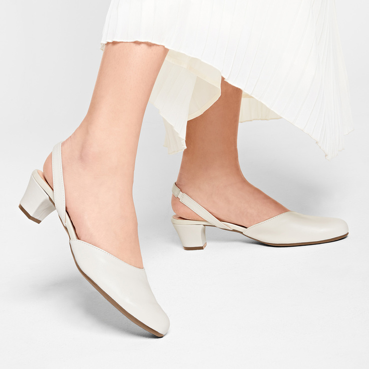 d6a7e559367a26 Sling-Pumps mit Trichterabsatz Weiß – modischer und bequemer Schuh für Hallux  valgus und empfindliche