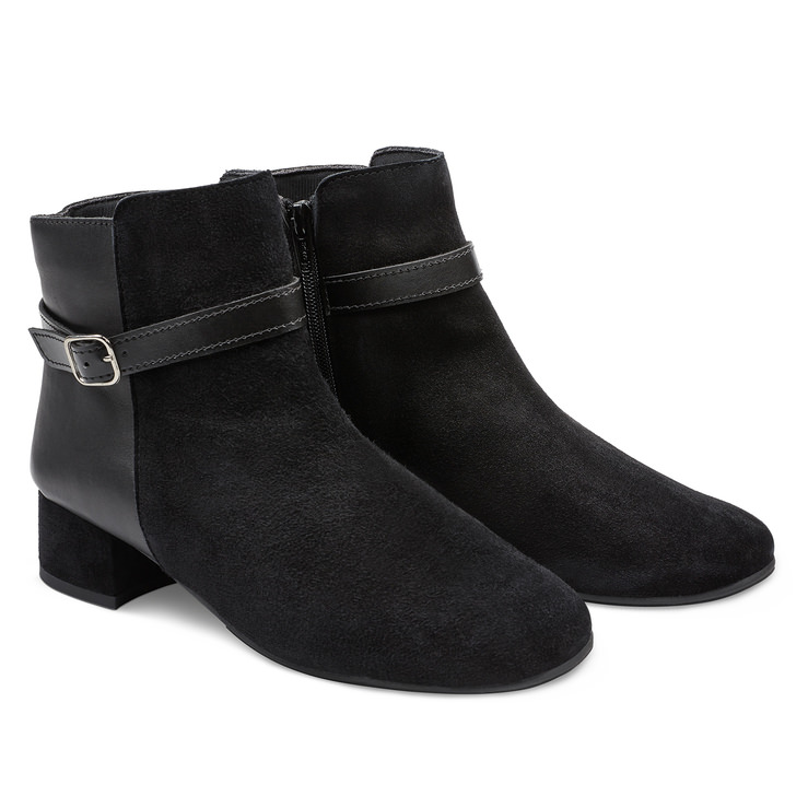 Stiefelette im Materialmix Schwarz – modischer und bequemer Schuh für Hallux  valgus und empfindliche Füße von 6a95481fe3