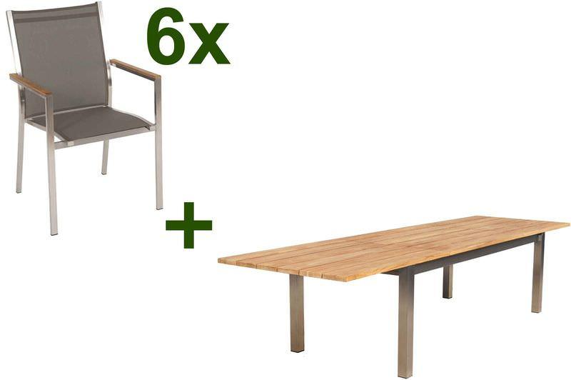 STERN Cardiff Esstischgruppe, silber/taupe, Edelstahl/FSC-Teak, Tisch 220/340x100cm, 6 Stapelsessel