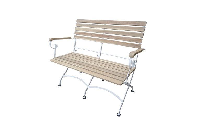 OUTFLEXX Bank, hellbraun/silber, FSC-Akazie/galvanisierter Stahl, 60x113x87 cm, klappbar
