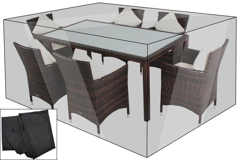 OUTFLEXX Premium Abdeckhaube für Esstisch, schwarz, 200x120x85 cm, wasserbeständig