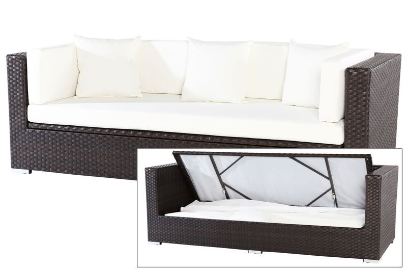 OUTFLEXX 3-Sitzer Sofa, braun, Polyrattan,210x85x70cm, inkl. Polster + wasserfeste Kissenbox