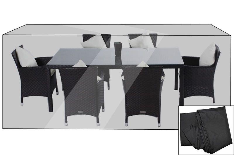 OUTFLEXX Premium Abdeckhaube für Esstischgarnituren, schwarz, 202x124x83 cm, wasserbeständig