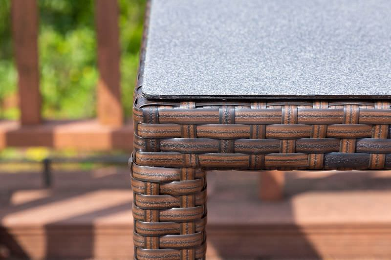 OUTFLEXX Dining Set, braun marmoriert, Polyrattan, Tisch 180x100cm, Spraystone, 6mm, 6 Sessel