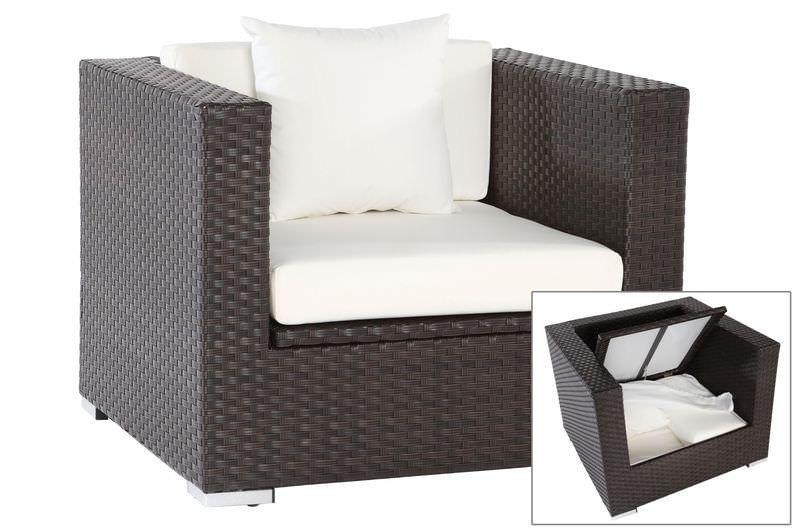 OUTFLEXX Sessel, braun, Polyrattan, inkl. Polster und Kissen, wasserfeste Kissenbox