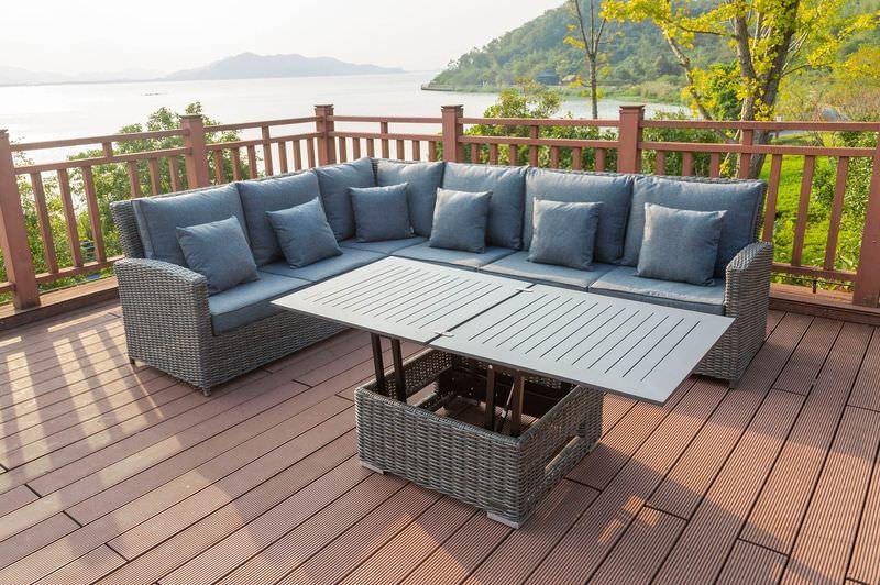 OUTFLEXX Sitzgruppe, grau, Polyrattan, 5-6 Personen, höhenverstellbarer Loungetisch, inkl. Polster