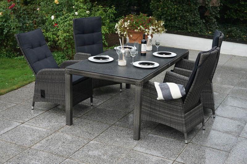 PLOß Rocking Dining Set, grau/braun-meliert, Polyrattan, Tisch 180x110 cm, 4 Sessel