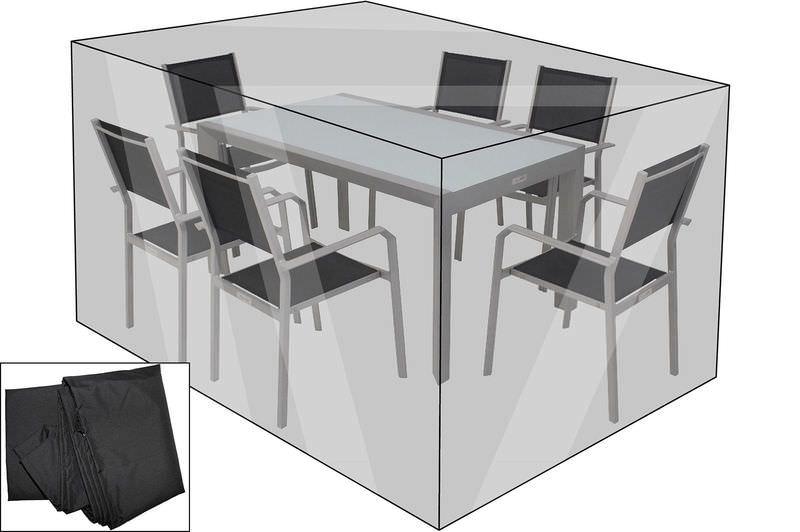 OUTFLEXX Premium Abdeckhaube für Sitzgruppen, schwarz, wasserbeständig, 202 x 162 x 72 cm