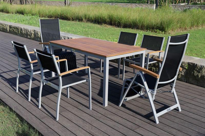 VILLANA Esstischset, silber/schwarz, Alu/FSC-Akazie, Gartentisch 150x90cm, 2 Relaxsessel, 4 Stapelsessel