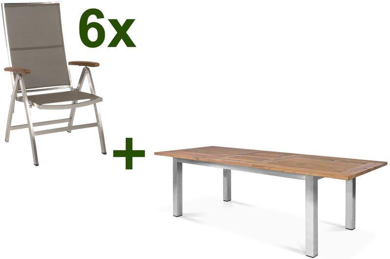 STERN Cardiff Esstischgruppe, silber/taupe, Edelstahl/Teak, Tisch 200/260x100cm, 6 Multipositionssessel