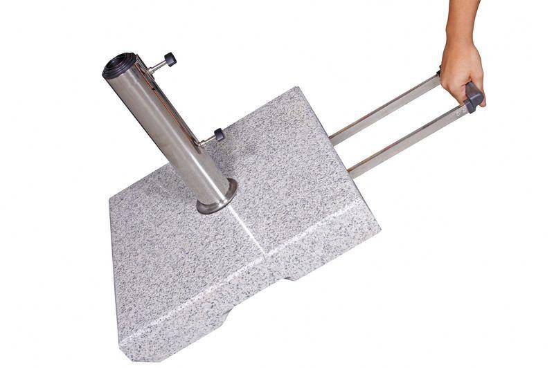 DOPPLER Trolley Granitsockel, Edelstahl/Granit, 70 kg, für Schirmstöcke von 32-60 mm