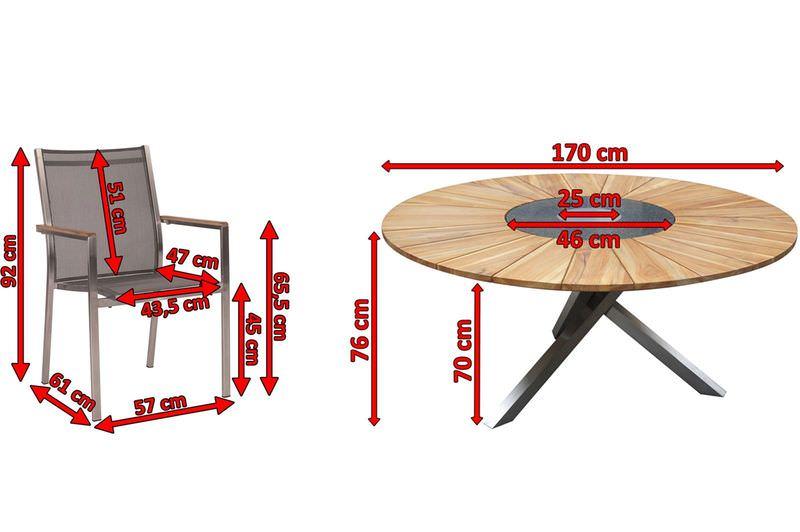 STERN Cardiff Esstischgruppe, silber/silbergrau, Edelstahl/FSC-Teak, Tisch Ø 170cm, 6 Stapelsessel