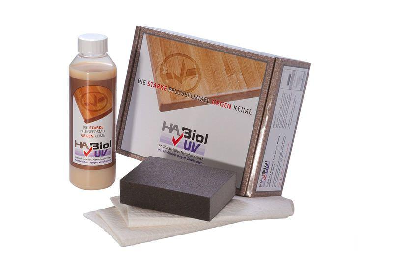 HaBiol Holzöl Pflegeset mit UV-Schutz, 1x Pflegeöl, 2 Tücher, 1x Schleifschwamm