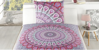 Satin Bettwäsche Select Home Mandala berry