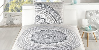 Satin Bettwäsche Select Home Mandala grau
