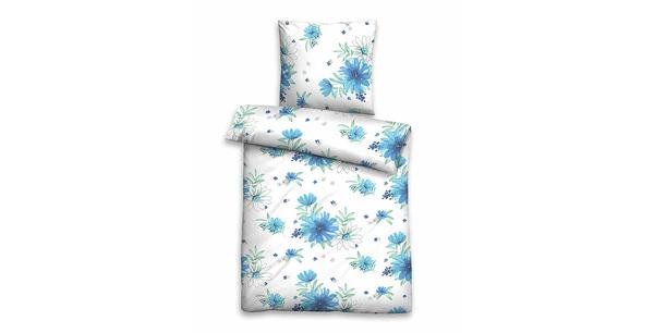Bettwasche Seersucker Vitalis Blumen Blau Grun Im Matratzen Concord