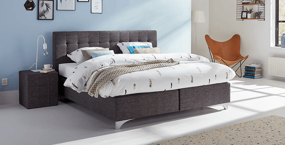 boxspringbett mio dormio vicenza bianco anthrazit im. Black Bedroom Furniture Sets. Home Design Ideas
