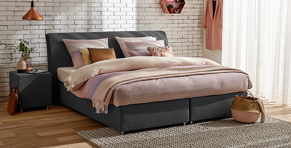 boxspringbett mio dormio carrara bianco grey im matratzen concord onlineshop zu bestem preis. Black Bedroom Furniture Sets. Home Design Ideas
