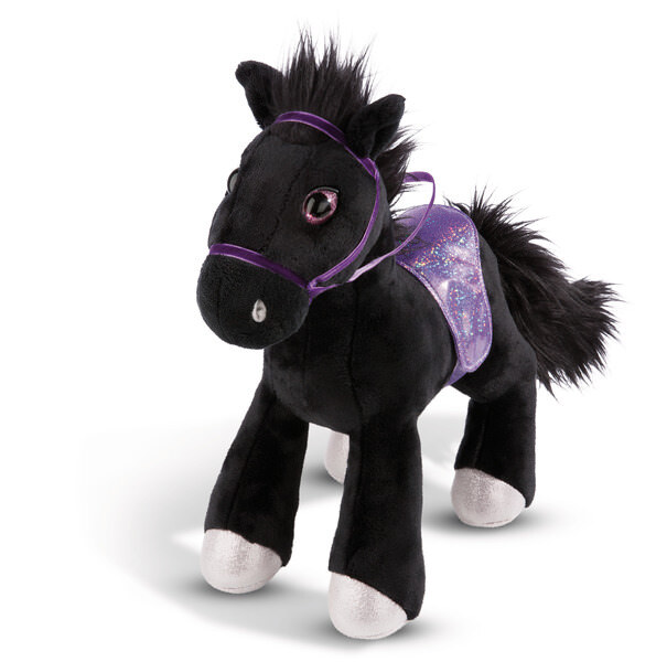 Standing cuddly toy horse Black Cassis with bridle und saddle
