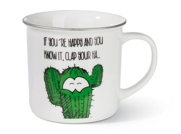 Porcelain mug metallic 'If you`re happy...'