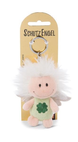 Schlüsselanhänger Schutzengel mit Symbol Kleeblatt