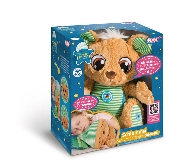 Bedtime story bear Schlummsi in green pyjamas