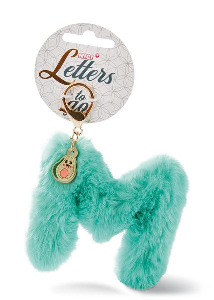 Plush pocket pendant letter M with avocado