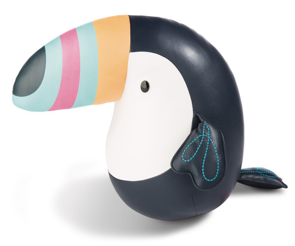 Cuddly toucan made of imitation leather